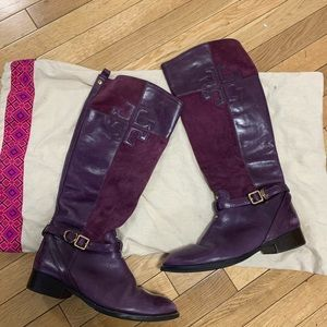 Tory Burch Lizzie Leather Suede Riding Boot